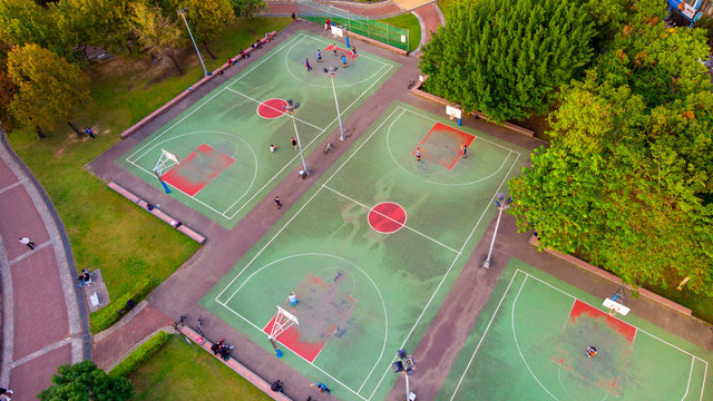 Aerial shot of basketball court in Yonghe No. 4 Park in Taipei City Park, Taiwan