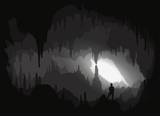 Cave. Inside a backlit cavity Wall mural