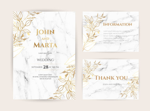 Luxury Marble Wedding invitation cards with gold geometric polygonal lines vector design template. Trendy templates for banner, flyer, poster, greeting. eps10