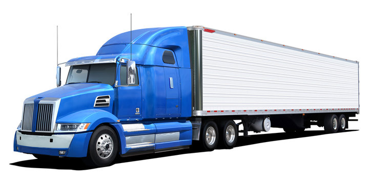 Western Star truck with blue cab Isolated on a white background.