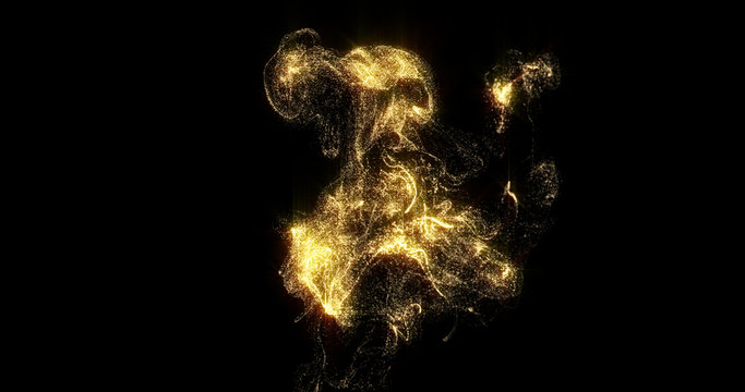 Golden smoke, shining golden fluid particles, liquid glitter light pour on black background. Sparkling gold, glittering shimmer magic glow haze with curl swirl pouring and evaporating effect