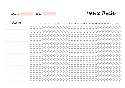 Habits Tracker printable template Vector. Blank white notebook page A4