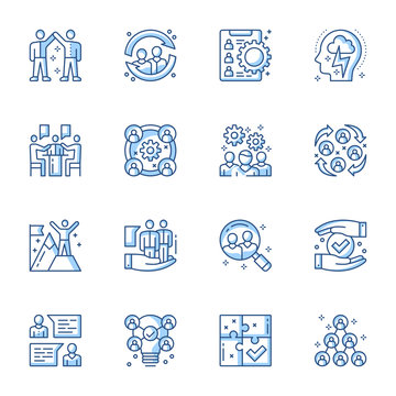 Employment service, team building linear vector icons set. Headhunting, job candidates searching contour symbols isolated pack. Teamwork and collaboration. Company organization contour illustrations