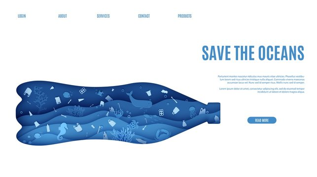 Web page stop ocean plastic pollution banner design template in paper cut style. Underwater view through the bottle silhouette. Seabed reef and fish in waves Vector World Water Day website concept.