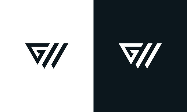 Minimalist line art letter triangle GW logo. This logo icon incorporate with letter G and W in the creative way.