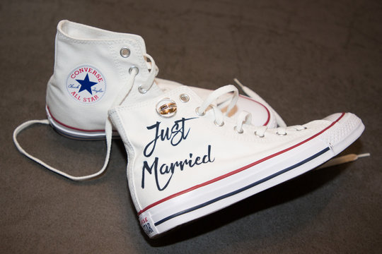 bride just married white Sneakers converse all star chuck taylor with wedding rings