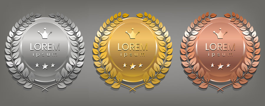 Set of simple vector sign. Design element for decoration medal, award or anniversary logo. Vector illustration.