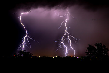 two large strikes of lightning