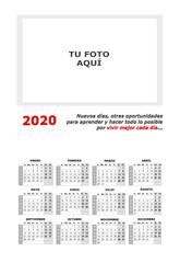 Almanaque, calendario 2020 personalizado para añadir foto y con frase motivadora sobre fondo blanco.