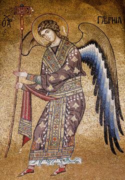 Gabriel the archangel, golden mosaic inside 12th century Martorana cathedral, Palermo. Italy.