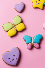 bright, figured gingerbread cookies for the holiday, close-up