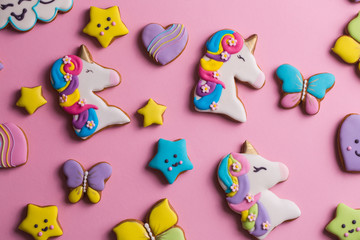 Collection of various glazed cookies