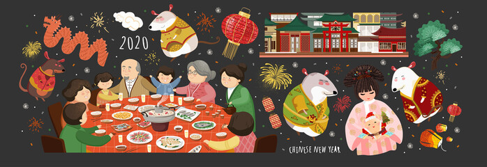 Happy chinese new year! 2020 is the year of the rat. Vector cute illustration of asian mice, korean people,family at the table, house for the holiday. Isolated objects for card, background or poster.