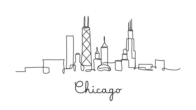One line style Chicago City skyline. Simple modern minimaistic style vector.