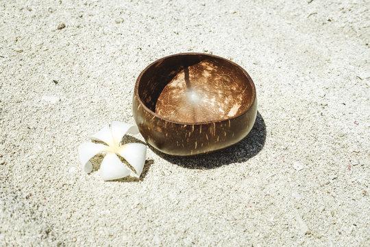 Coconut bowl on a beach