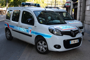 Avignon city car police municipale means in french Municipal police logo sign