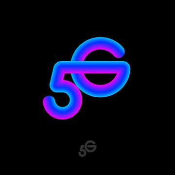 5G  gradient logo. Monogram consist of crossing  Number 5 and letter G. Symbol of  fifth generation mobile networks.
