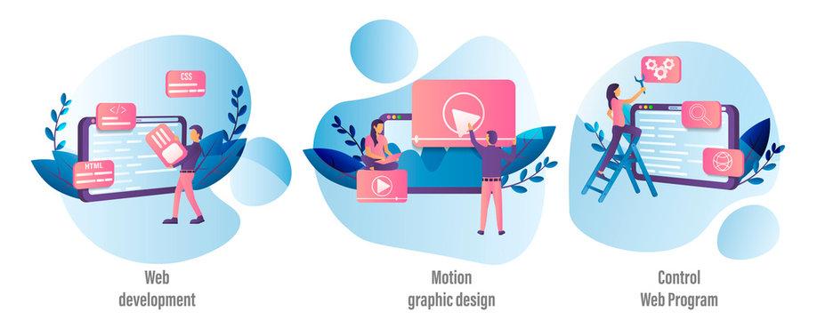 Colored vector cartoon representing web development, control web program and motion graphic design.