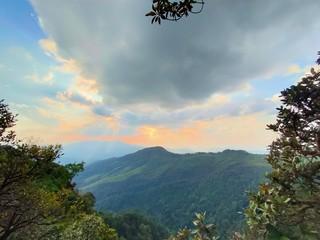 Poster Groen blauw Beautiful mountain peaks scenery landscape