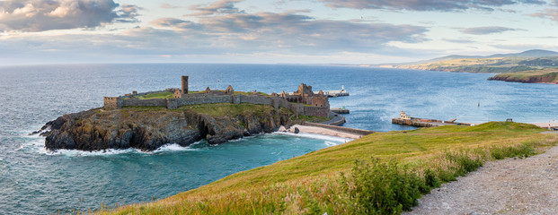 Peel Castle and Entrance to Harbour Peel Isle of Man