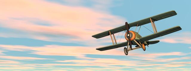Old retro biplane flying in the sky - 3D render Fotomurales