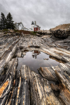 Pemaquid Point Lighthouse From Shoreline Reflection