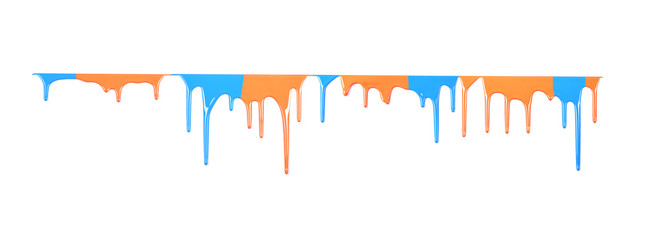 Colorful paint dripping isolated on a white background