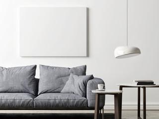 Mock up poster in Scandinavian studio design, poster for product design, 3d render, 3d illustration