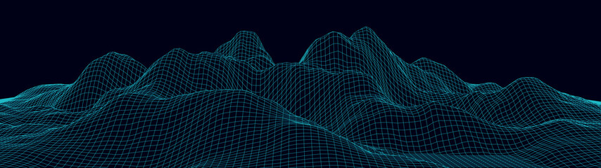 Vector wireframe 3d landscape. Technology grid illustration. Network of connected dots and lines on black background.