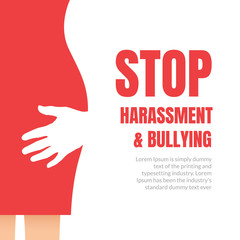 Sexual harassment violence stop poster. Sexual harassment assault woman concept
