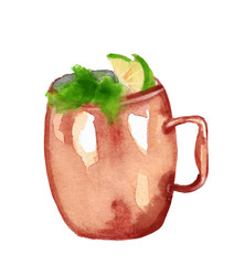 watercolor illustration of a moscow mule cocktail