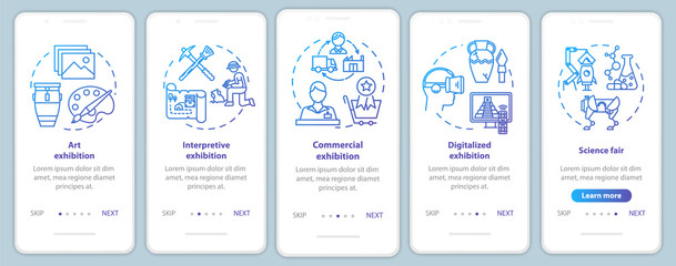 Exhibition and museum onboarding mobile app page screen vector template. Exposition. Science fair. Walkthrough website steps with linear illustrations. UX, UI, GUI smartphone interface concept