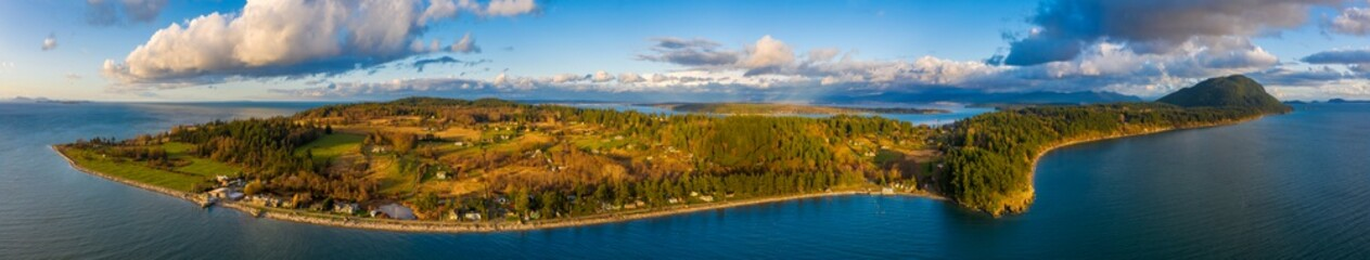 Aerial Panorama of Lummi Island, Washington. Located not far from Bellingham, Washington, this small island in the Salish Sea is serviced by a 21 car ferry. The famous Willows Inn is also located here
