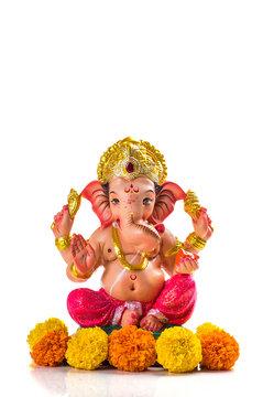 Hindu God Ganesha. Ganesha Idol on white Background.