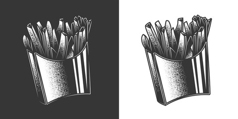 Original monochrome vector illustration of a serving of French fries in vintage style.