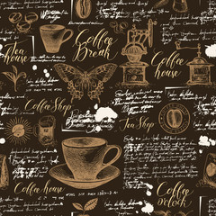 Vector seamless pattern on tea and coffee theme with sketches, blots and illegible inscriptions on the brown background. Suitable for Wallpaper, wrapping paper, fabric or textile in retro style
