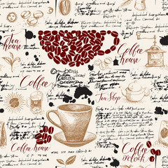 Vector seamless pattern on tea and coffee theme with drawings, spots and illegible handwritten notes in vintage style. Suitable for Wallpaper, wrapping paper, background or fabric