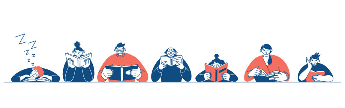 The concept of reading day. People hold a book in their hands. Human character on white background. Flat design style minimal vector illustration.