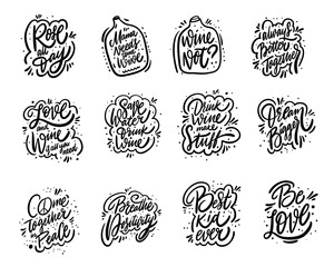 Poster Positive Typography Motivation lettering phrases mega set. Hand drawn vector illustration. Positive inspirational quotes.