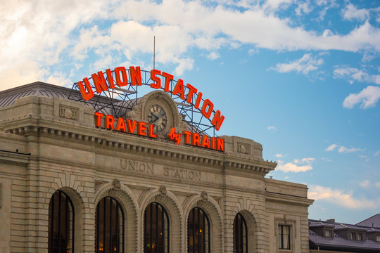 DENVER, COLORADO, USA - May 26, 2019: Historic Union Station, a municipally owned train station in downtown Denver, Colorado