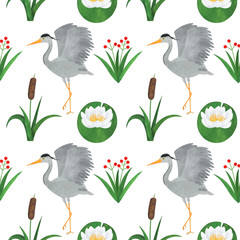 Seamless pattern heron bird watercolor reed lily flowers