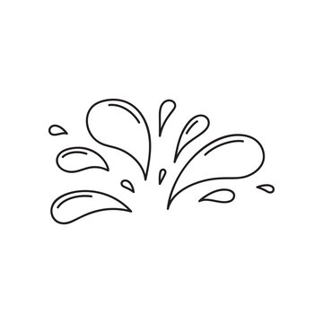 A lot of small spray and droplets. Contour water drop icon. Hand drawn cartoon illustration of aqua. Symbol of splashing liquid in doodle style. Isolated outline vector image