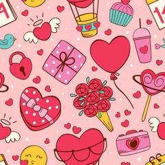 seamless pattern with love icons on pink background - vector illustration, eps