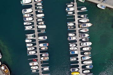 Vertical view of small boats in a marina
