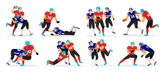 Collection of people playing american football. Set of different players pose in rough kind sport game. American football players in action. Professional athletes running with ball in hands