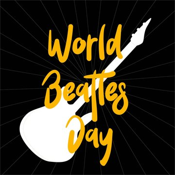 The Beatles' Poster for the Beatles Day. Guitar. Rock music.