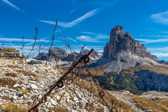 Stellung aus dem Ersten Weltkrieg auf dem Monte Piana, Dolomiten