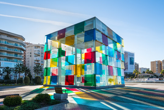 Malaga, Spain - December 4, 2018: Contemporary museum Pompidou centre in Malaga, Andalusia, Spain. It is famous culture centre is housed at the new port of Malaga.