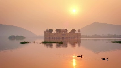 Wall Mural - Romantic Jal Mahal Water Palace at sunrise in Jaipur. Rajasthan, India