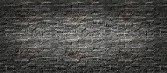 Panorama, Black brick wall background. Old dark stone texture, Abstract surface black rough brick...